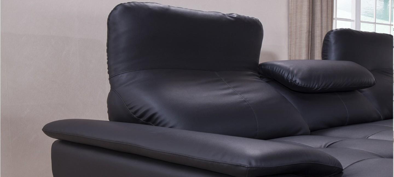 canap noir en cuir en stock a prix bas. Black Bedroom Furniture Sets. Home Design Ideas