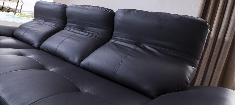 Canap d 39 angle en cuir noir prix canon - Construire son canape d angle ...