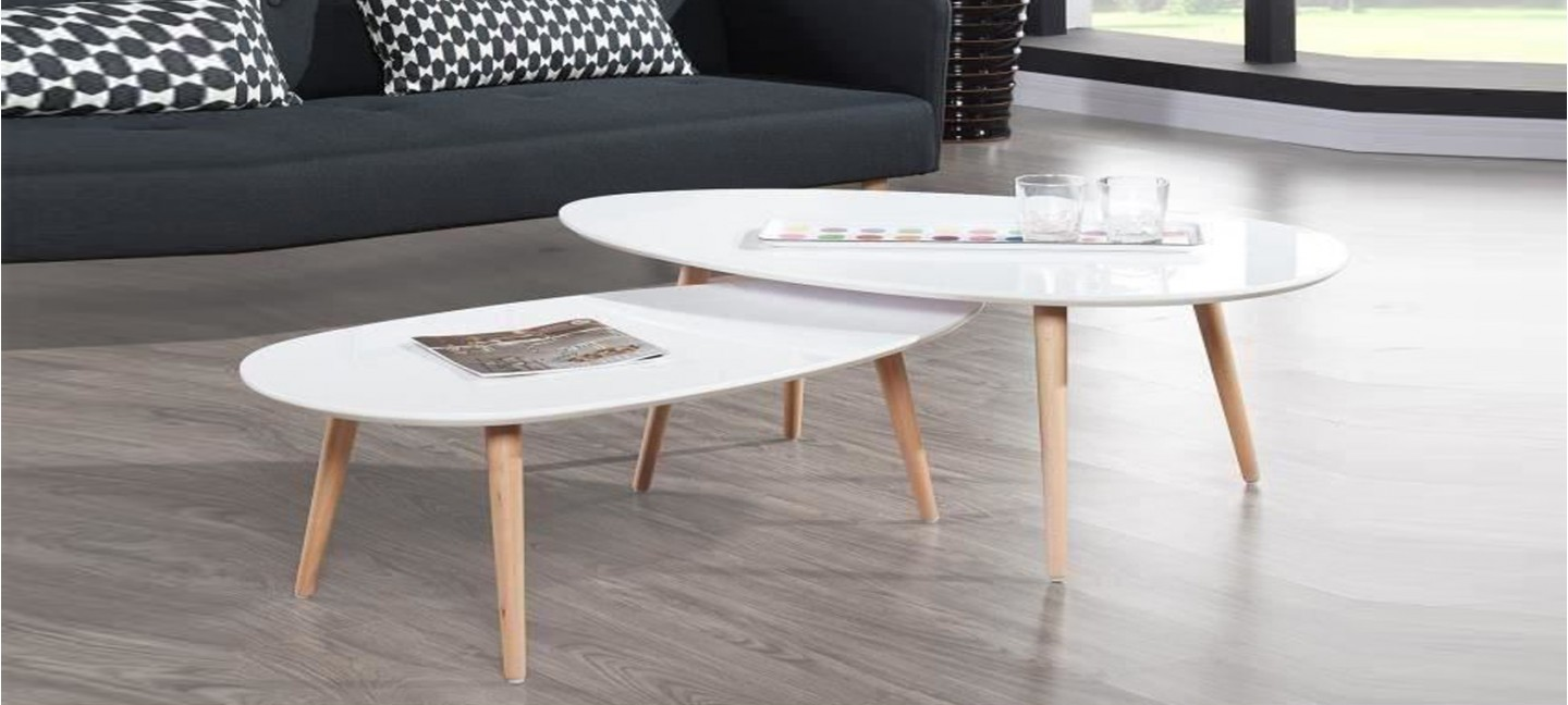 Table ovale scandinave - Table basse blanche but ...