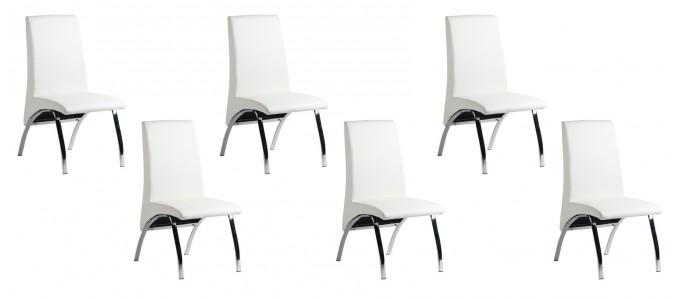 Lot de 6 chaises salle à manger blanches - Oka