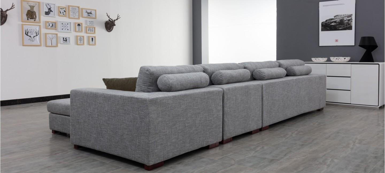 ... Ensemble canapé d angle droit et fauteuil en tissu gris - Opéra ... df87f9b0dde5