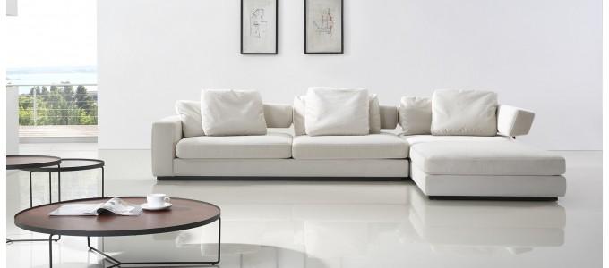 Canapé d'angle 5 places en tissu blanc - Volga