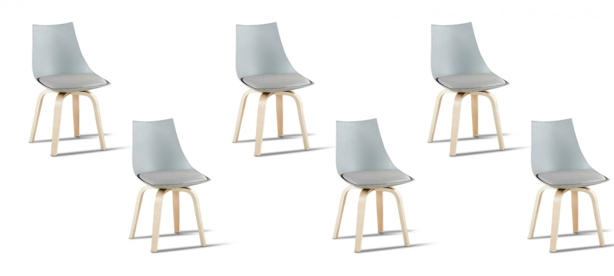 Lot de 6 chaises scandinaves grises - Nicosie