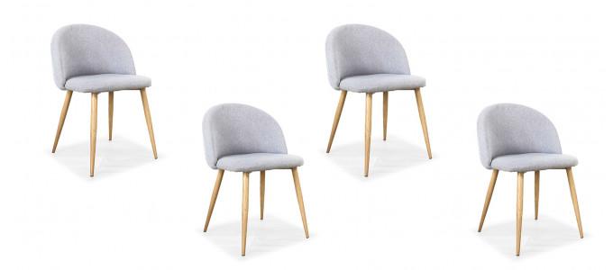 Lot de 4 chaises scandinaves grises - Rossi