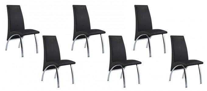 Lot de 6 chaises salle à manger noires - Oka
