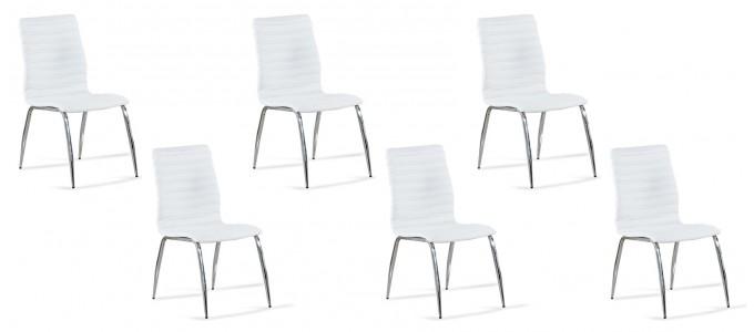 Lot de 6 chaises salle à manger blanches - Londres