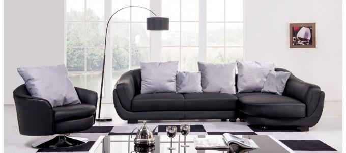 Canapé d'angle droit en cuir noir - Colorado