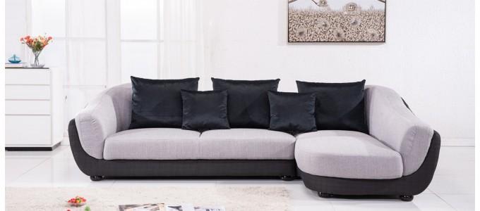 Canapé d'angle droit en tissu gris - Colorado