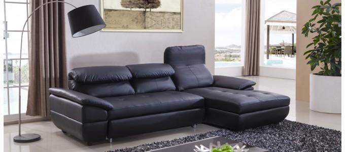 Canapé d'angle droit en cuir noir - Mezzio