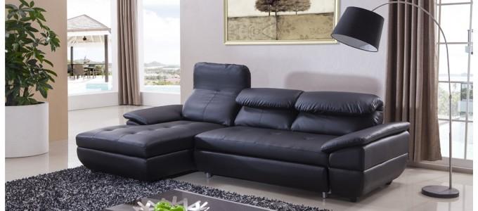 Canapé d'angle gauche en cuir noir - Mezzio