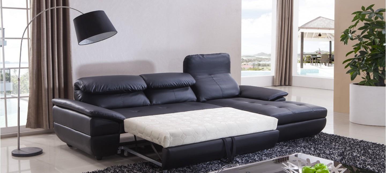 Canapé d\'Angle Convertible en Cuir | Prix imbattables !