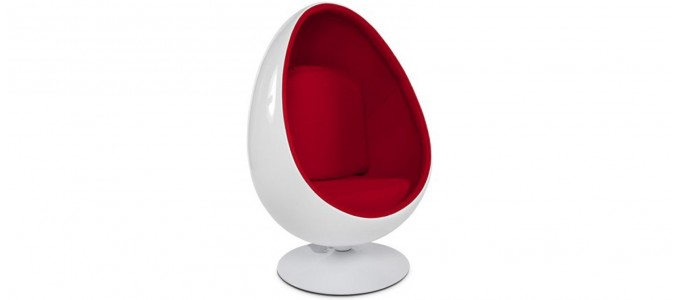 Fauteuil design en velours rouge - Lounge