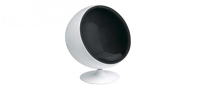 Fauteuil design en velours noir - Boule