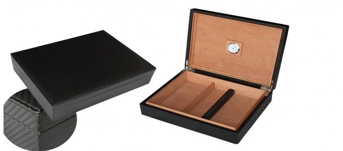Cave à cigares style carbone en simili (PU)