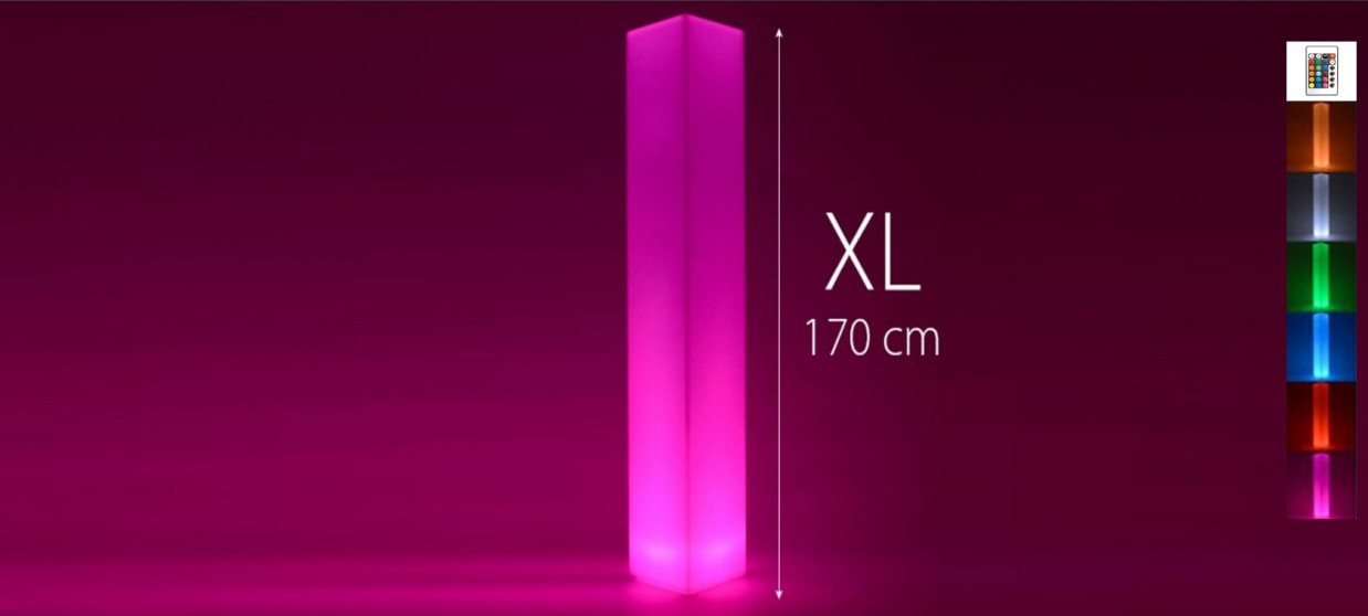 Colonne lumineuse à LED carrée 170 cm multicolore