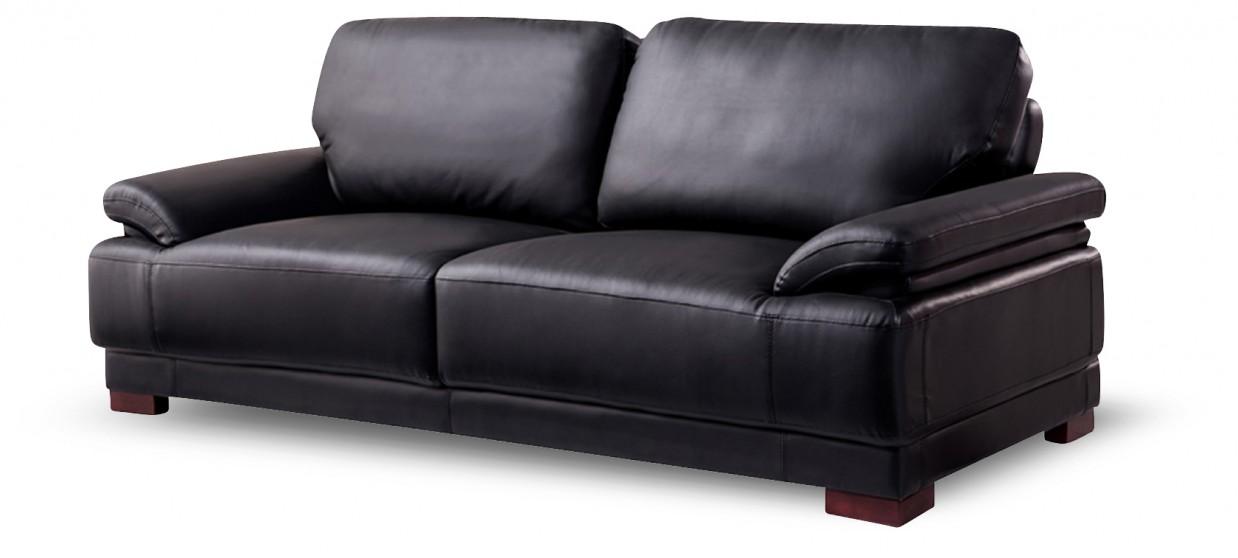 canap 3 places en cuir noir glam - Cuir Canape