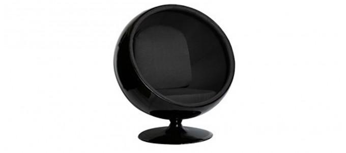 Fauteuil design en velours noire - Boule