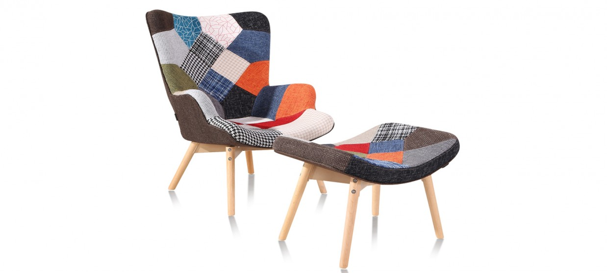 fauteuil patchwork en tissu stockholm - Fauteuil Scandinave Patchwork