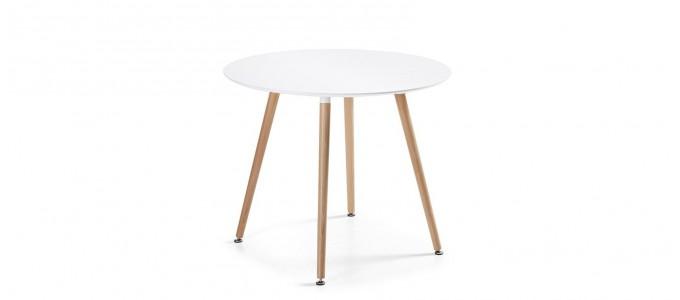 Table à manger ronde design blanche 100cm - Alta