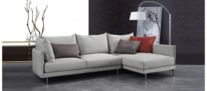 Canapé d'angle 5 places en tissu gris - Victoria