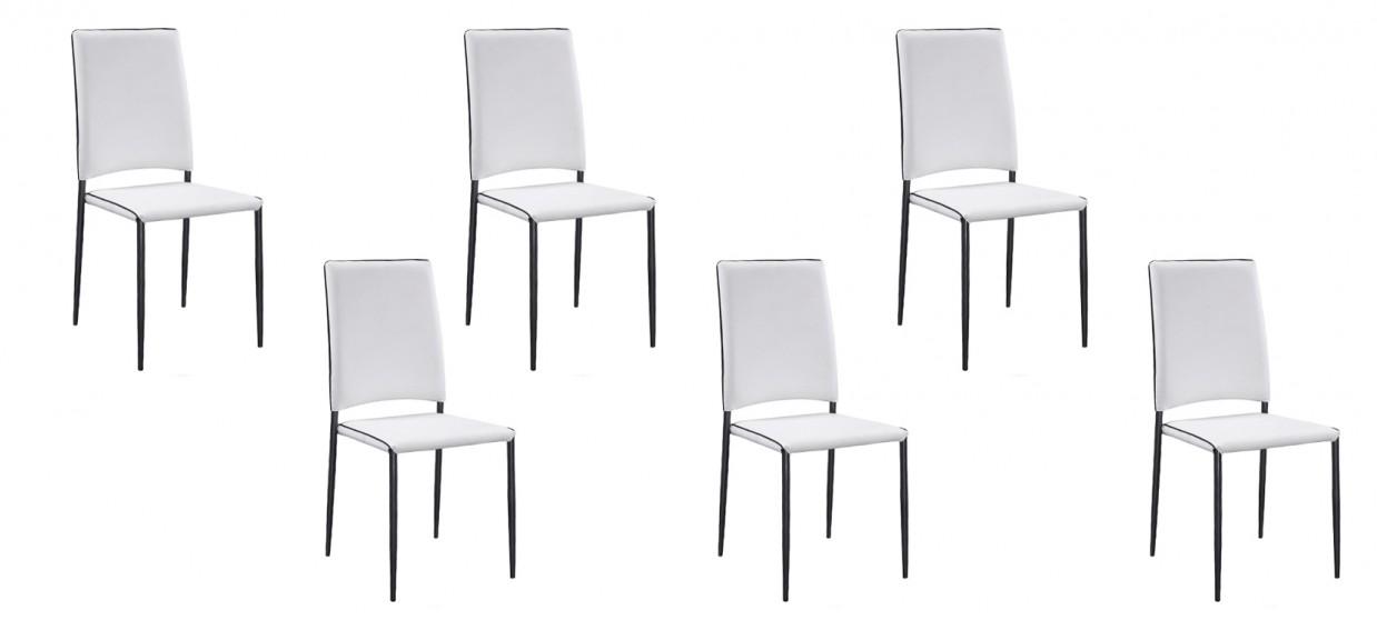 Lot de 6 chaises salle à manger blanches - Tudelia