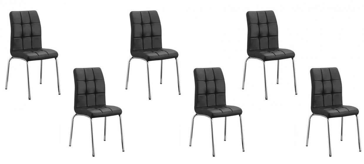 Lot de 6 chaises salle à manger noires - Nursia