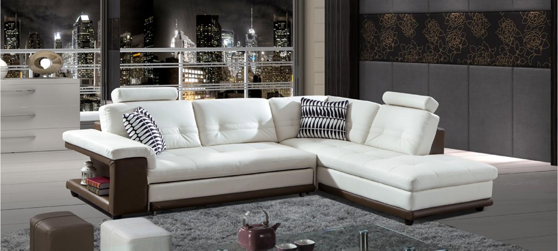 check-out 9852a 2d709 Canapé d'angle droit en cuir blanc et taupe - Lumia