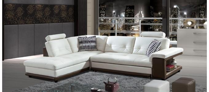 Canapé d'angle gauche en cuir blanc et taupe - Lumia