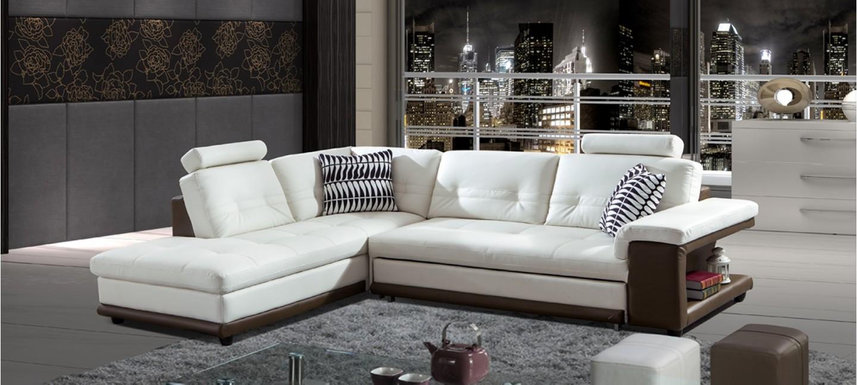 Canapé Cuir Blanc Qui Jaunit canapé d'angle gauche en cuir blanc et taupe - lumia