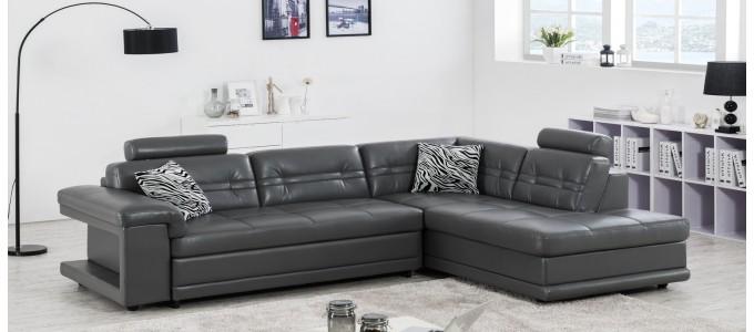 Canapé d'angle droit en cuir gris foncé - Lumia