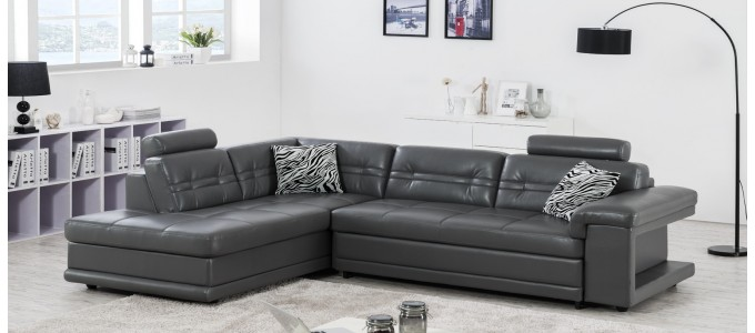 Canapé d'angle gauche convertible en cuir gris foncé - Lumia