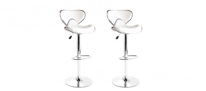 Lot de 2 tabourets de bar design blanc avec coutures - Volta