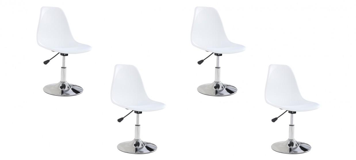 Lot de 4 chaises salle à manger blanches - Soft