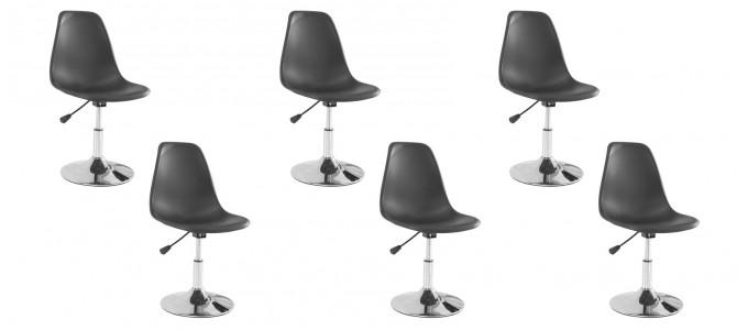 Lot de 6 chaises salle à manger noires - Soft