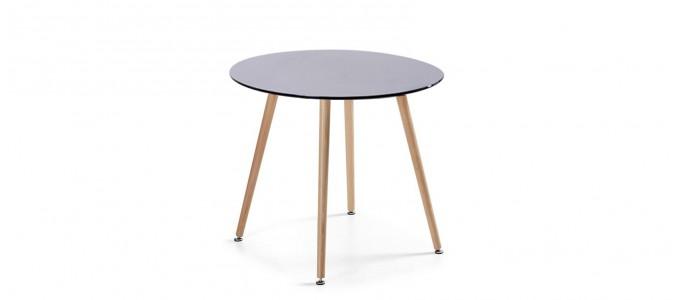 Table à manger ronde design noire 80cm - Alta