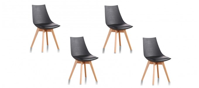 Lot de 4 chaises scandinaves noires - Prague