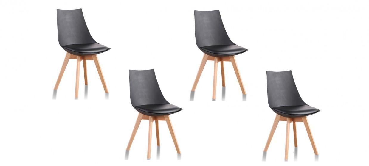 Lot de 4 chaises scandinaves noires - Prague