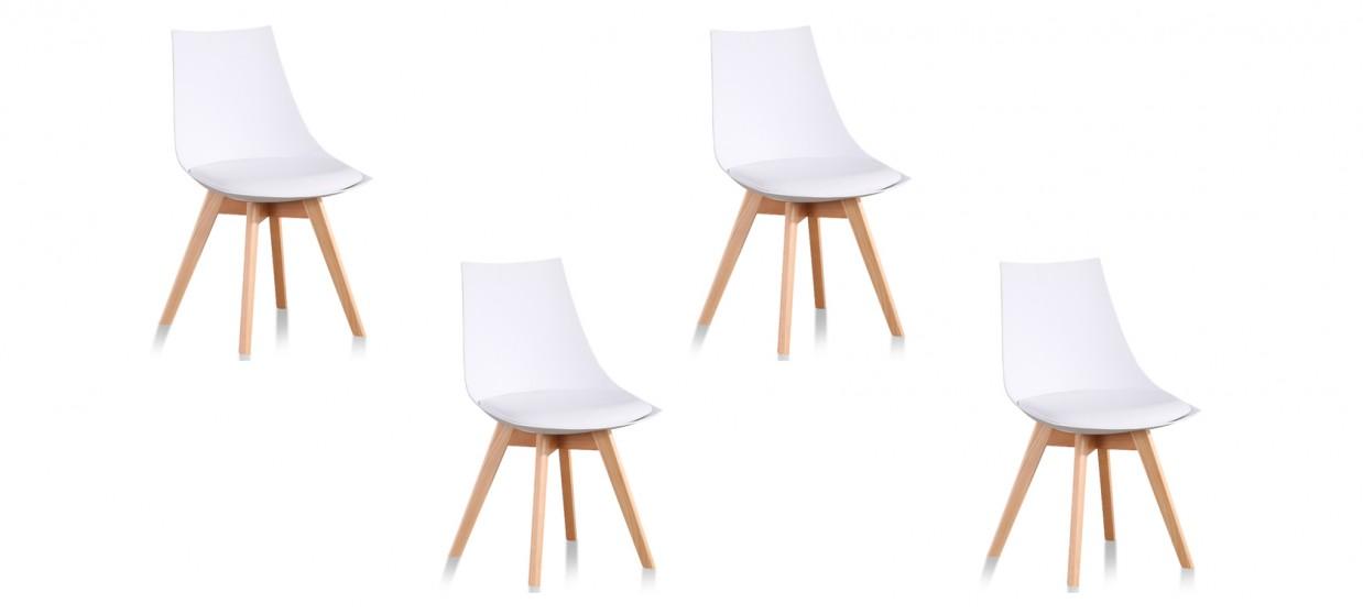 Lot de 4 chaises blanches - Prague