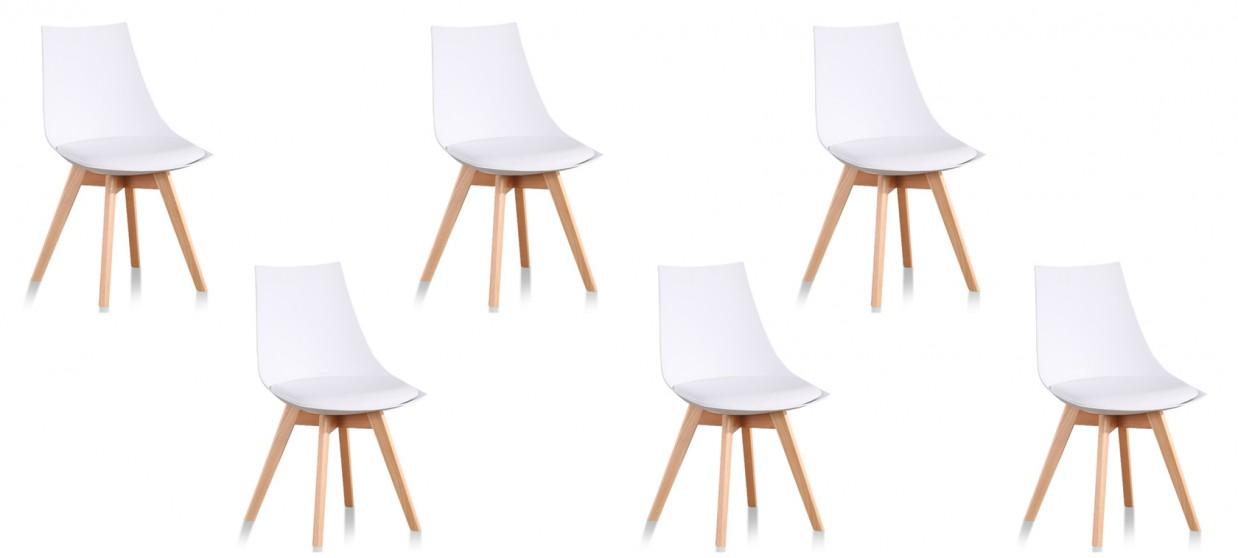 Lot de 6 chaises scandinaves blanches - Prague
