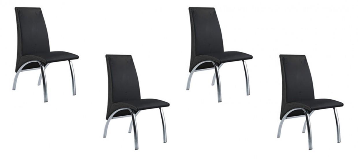 Lot de 4 chaises salle à manger noires - Oka