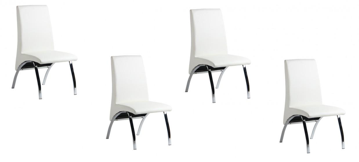 Lot de 4 chaises salle à manger blanches - Oka