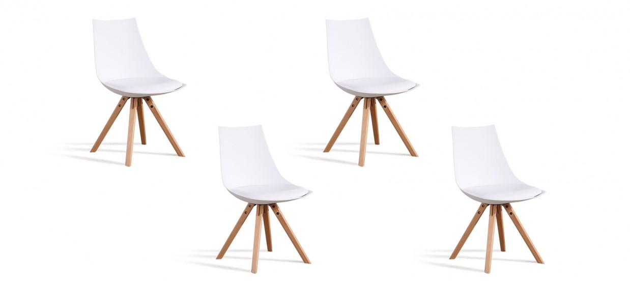 Lot de 4 chaises scandinaves blanches - Minsk
