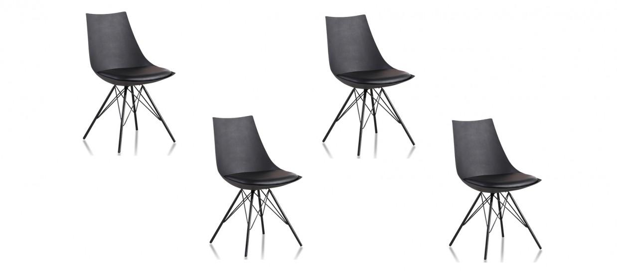 Lot de 4 chaises design noires - Eiffel