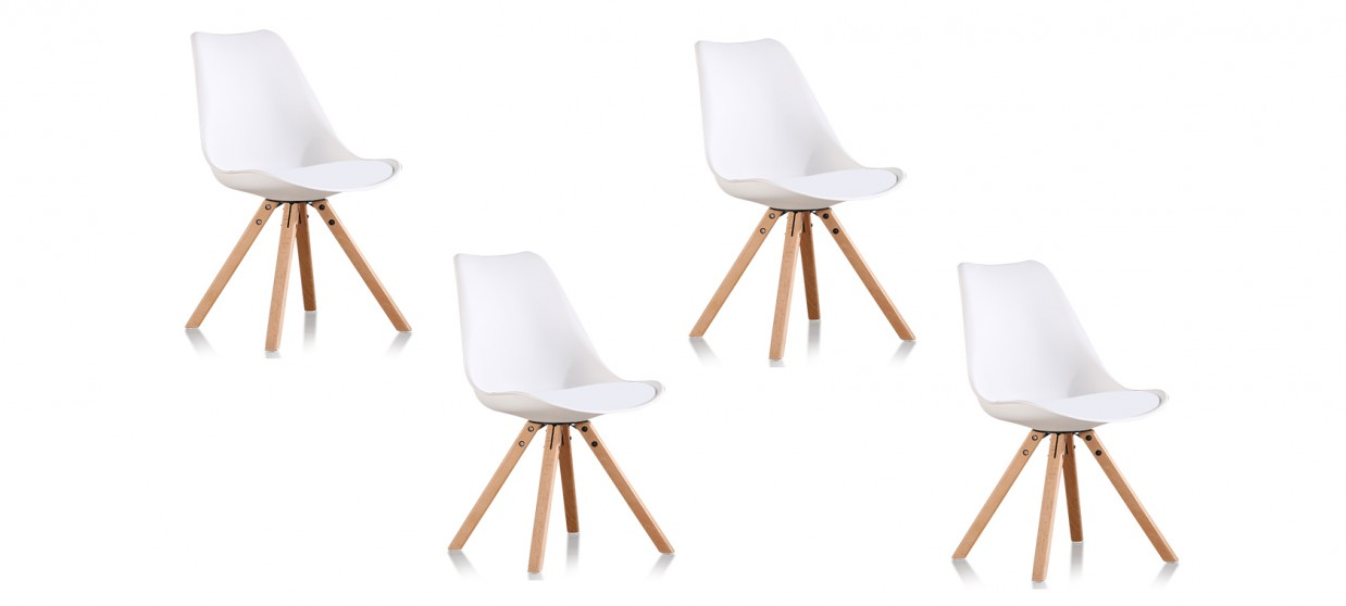 Lot de 4 chaises scandinaves blanches - Helsinki