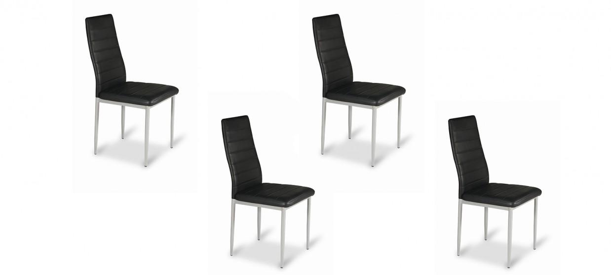 Lot de 4 chaises salle à manger noires - Lena