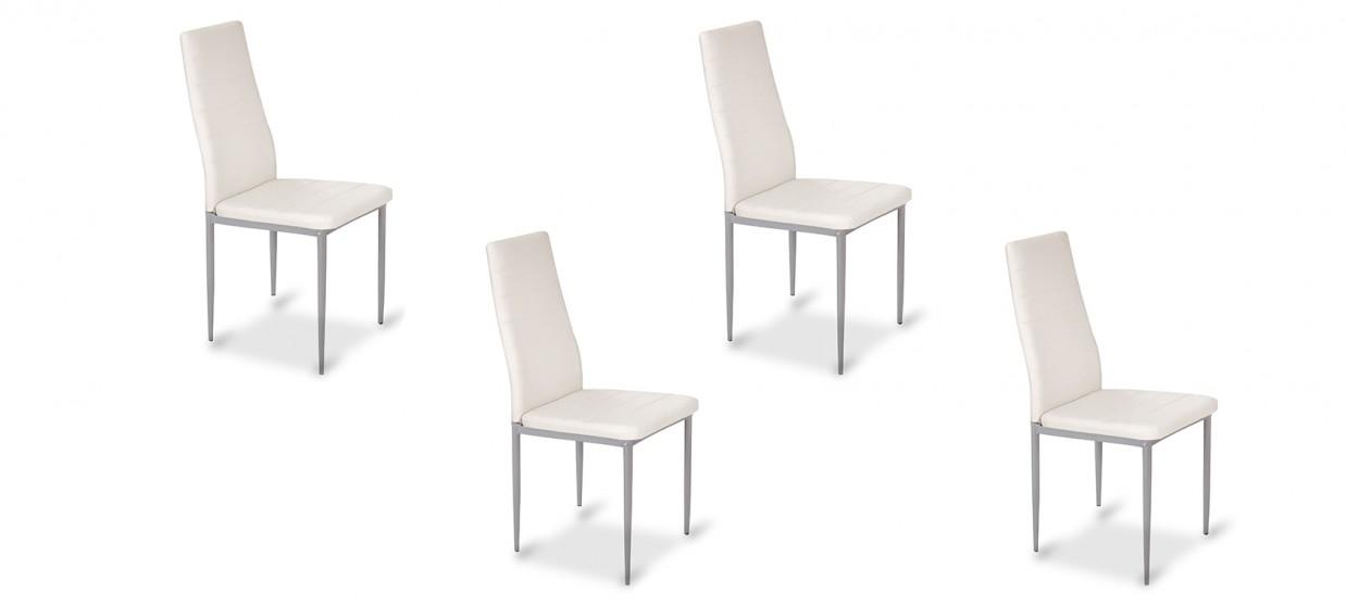 Lot de 4 chaises salle à manger blanches - Lena