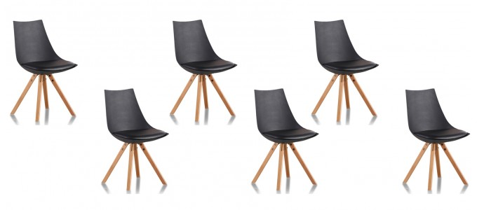 Lot de 6 chaises scandinaves noires - Minsk