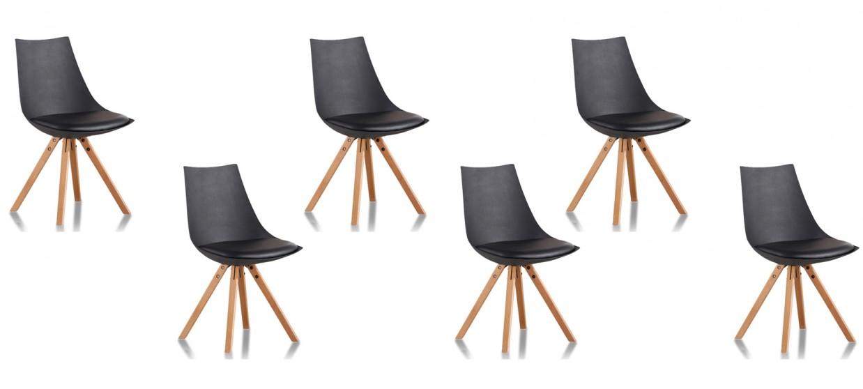 Lot de 6 chaises scandinaves noires - Minsk