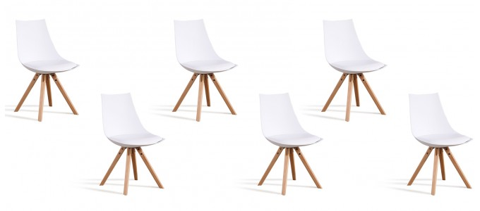 Lot de 6 chaises scandinaves blanches - Minsk