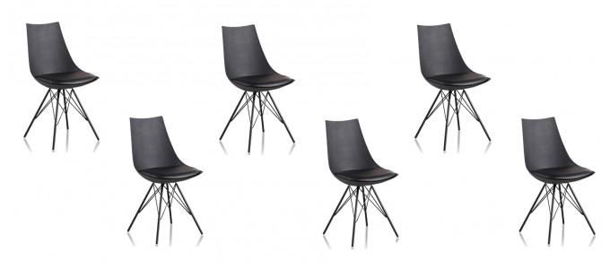Lot de 6 chaises discount noires - Eif